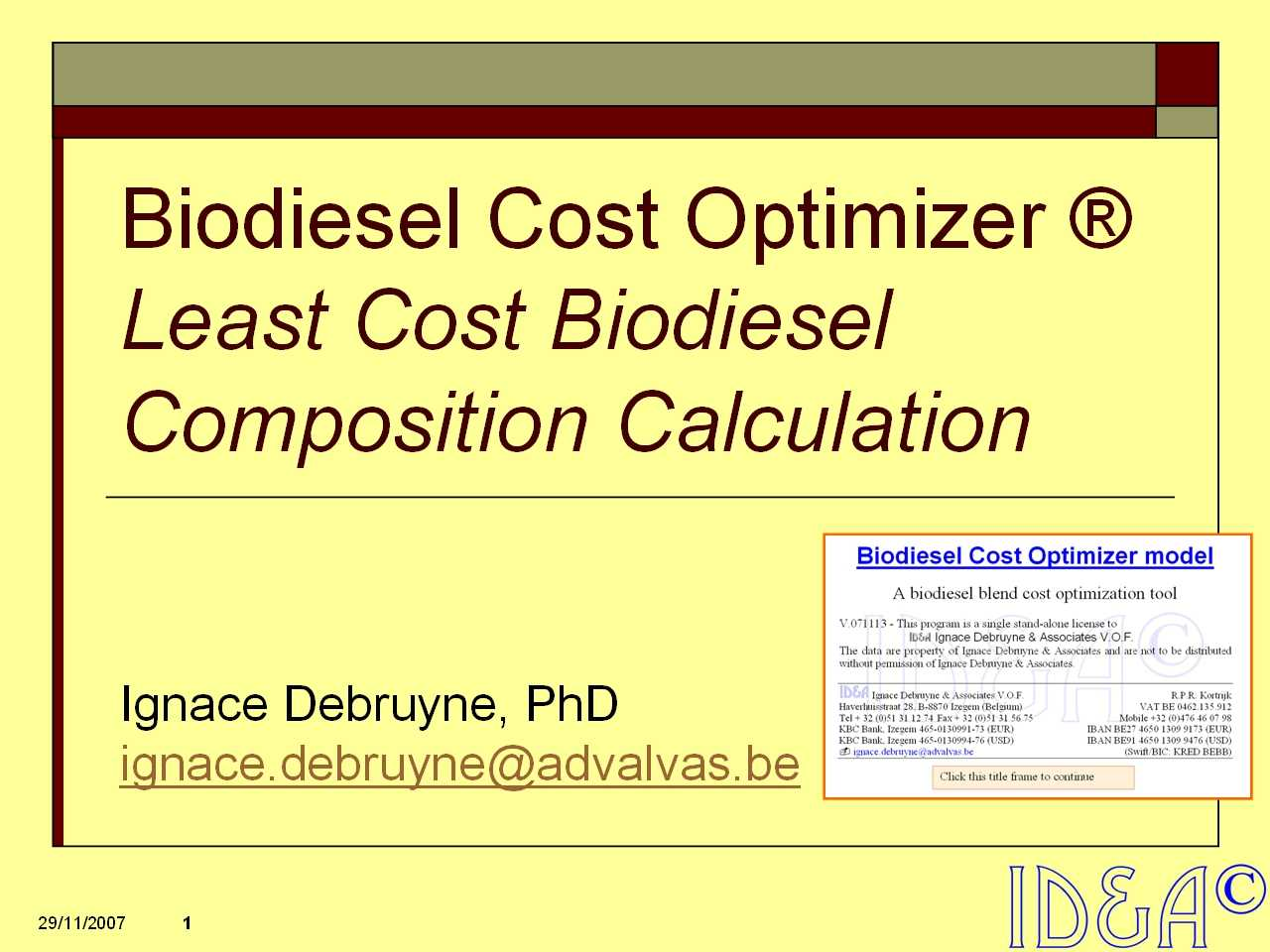 Biodesel Cost Optimizer information pack